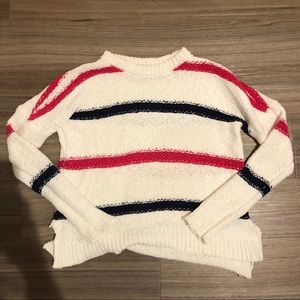 Pink, white, and blue sweater